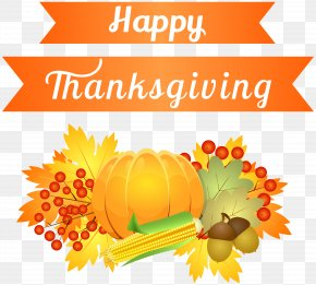 Happy Thanksgiving Decoration Clipart Image - United States Thanksgiving Clip Art PNG