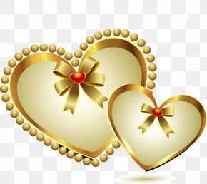 Gold Heart-shaped Pattern - Heart PNG