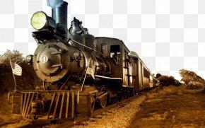 Retro Steam Train - Train Steam Locomotive Rail Transport Wallpaper PNG