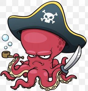 Pirate Octopus - Octopus Cartoon Clip Art PNG