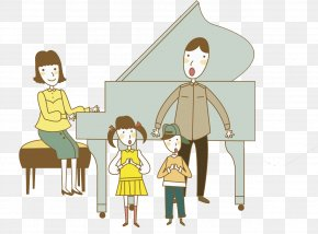 Piano Mother - Stock Photography Watercolor Painting Illustration PNG