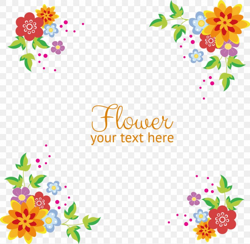 Vector Flowers Background Border Png 1000x978px Flower