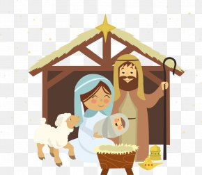 Vector Jesus With A Woman - Christmas Novena Of Aguinaldos Nativity Scene Manger PNG