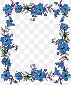 Chinese Blue Vintage Lace Border - Flower Picture Frame Clip Art PNG