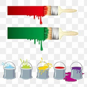 Paint Brushes And Paint Bucket - Paintbrush Paintbrush Painting Clip Art PNG
