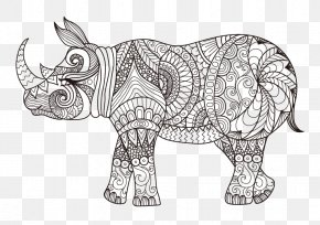 Rhino Linear Painting - Javan Rhinoceros Coloring Book Drawing PNG