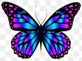 Blue And Purple Butterfly Clipar Image - Butterfly Purple Blue Clip Art PNG