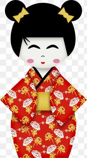 Cartoon Beautiful Japanese Girls - Geisha Kimono Cartoon Wallpaper PNG
