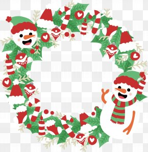 Snowman Christmas Garland PNG