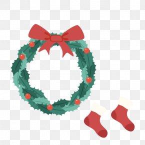 Bow Christmas Wreath - Christmas Ornament Kids Vocabulary Santa Claus Wreath PNG