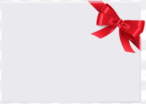 Empty Card With Red Ribbon Clip Art - Gift Red Ribbon Shoelace Knot PNG