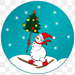 A Snowman With A Christmas Tree - Santa Claus Christmas Tree Snowman PNG