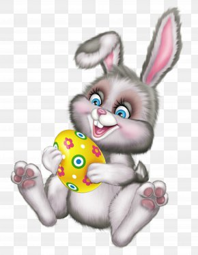 Cute Easter Bunny With Egg Picture - Easter Clip Art PNG