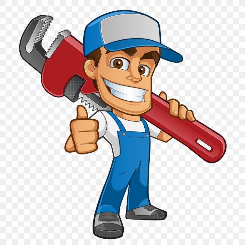 Plumber Atta-Boy Plumbing Services Drain Tap, PNG, 1000x1000px, Plumber, Baseball Equipment, Bathroom, Cartoon, Central Heating Download Free
