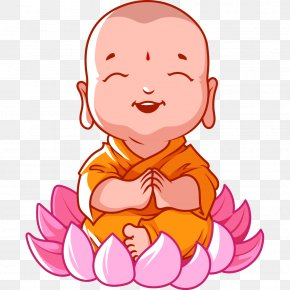 Buddha Smiling With Folded Hands Vector Material - Cartoon Buddhism Buddha's Birthday Bhikkhu PNG