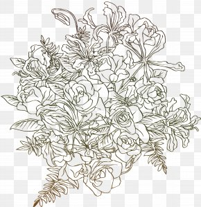 Golden Flowers - Drawing Visual Arts Flower Clip Art PNG