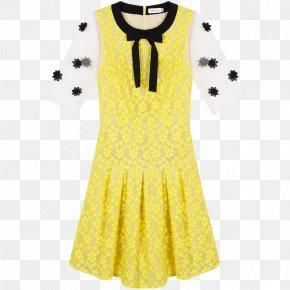 Sweet Yellow Dress - Polka Dot Dress Skirt Lace PNG