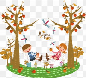 Swing Bed Cartoon Children - Autumn Cartoon PNG
