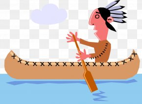Iroquois Indian Canoes - Clip Art Illustration Canoe Vector Graphics Image PNG