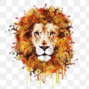 Drawing Lion - Lion Leopard Tiger T-shirt Wildlife PNG