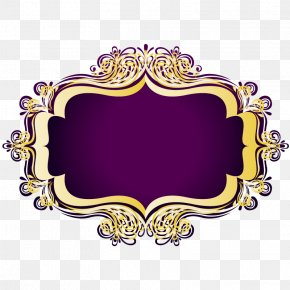 Gold Pattern Purple Text Box - Gold Text Box Computer File PNG