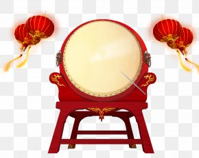 Chinese Lantern Free Drum Pull Material - Poster Bass Drum PNG