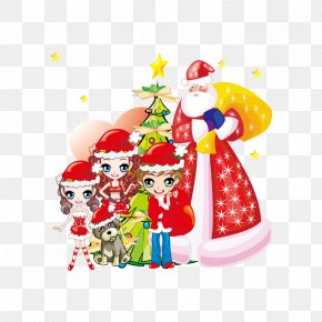 Santa Claus And Children - Santa Claus Christmas Ornament Chinese New Year PNG