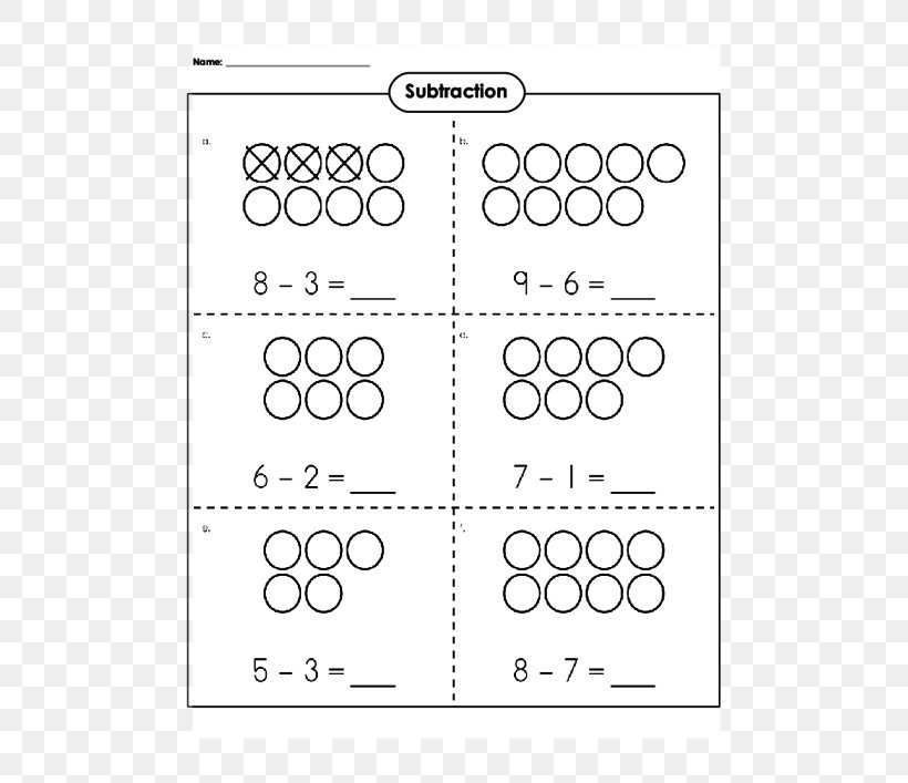 Subtraction Worksheet Kindergarten First Grade Learning Png 500x707px Subtraction Addition Area Auto Part Black And White