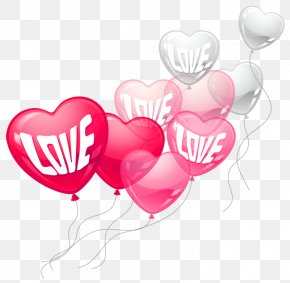 Valentines Day Pink And White Love Heart Baloons PNG Clipart Picture - Valentine's Day Heart Clip Art PNG