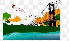 Vector Painted River Bridge - Euclidean Vector Stock Illustration Cartoon Illustration PNG