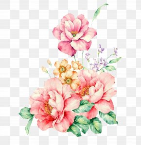 Hand-painted Decorative Pink Flower - Pink Flowers Watercolor Painting PNG