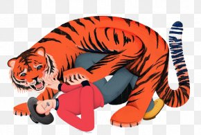 Cartoon Man-eating Tiger - Tipus Tiger Cartoon Illustration PNG