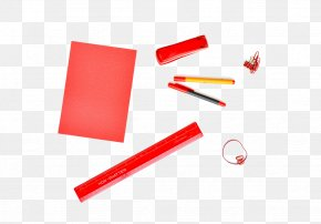 Red School Supplies - Paper Office Pen Desk Notebook PNG