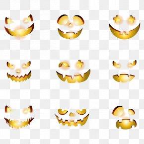 Vector Halloween Pumpkin Smiley Face - Pumpkin Halloween Jack-o'-lantern PNG