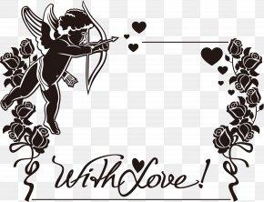 Love Cupid Border - Cherub Cupid Heart Love PNG