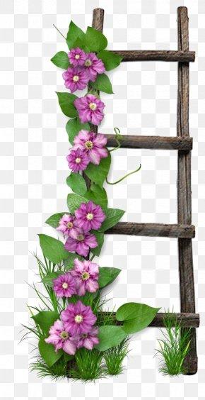 Wooden Ladder - Flower Paper Digital Scrapbooking Ladder PNG