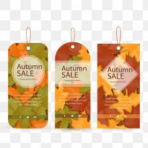 Autumn Leaf Decoration Tag Vector - Autumn Leaf Euclidean Vector PNG