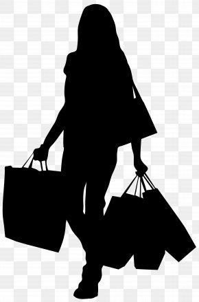 Female Silhouette With Shopping Bags Clip Art Image - Shopping Bag Clip Art PNG