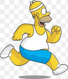 Homer Simpson - Homer Simpson Miami Hurricanes Football Los Angeles Dodgers Running PNG