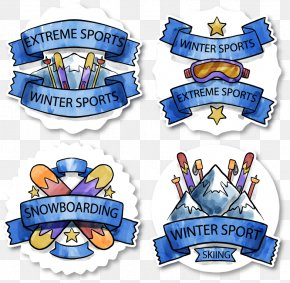 Winter Skiing Sticker - Watercolor Painting Skiing Winter Sport PNG