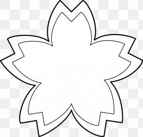 Simple Flower Outline - Flower Black And White Drawing Clip Art PNG