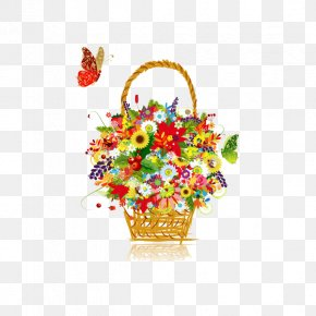 Colorful Baskets Of Flowers - Flower Basket Stock Photography Clip Art PNG