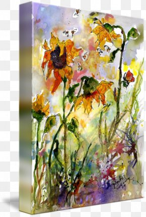 Ink Watercolor Painting - Floral Design Watercolor Painting Modern Art Still Life PNG