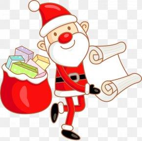 Vector Christmas List Santa Claus - Santa Claus Cartoon Clip Art PNG