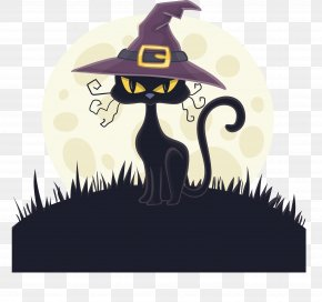 Black Cat With Witch Hat - Cat Witch Hat Witch Hat PNG