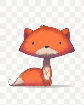 Little Fox - Red Fox Drawing Watercolor Painting Illustration PNG
