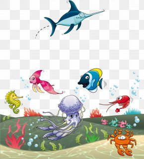 Cartoon Shark Undersea Jellyfish Vector Material - Sea Fish Aquatic Animal Clip Art PNG
