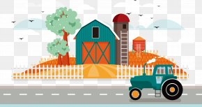 Vector Autumn Farm - Silo Grain Elevator Illustration PNG