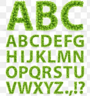 Grass Green Leaves Alphabet - Typeface Font PNG