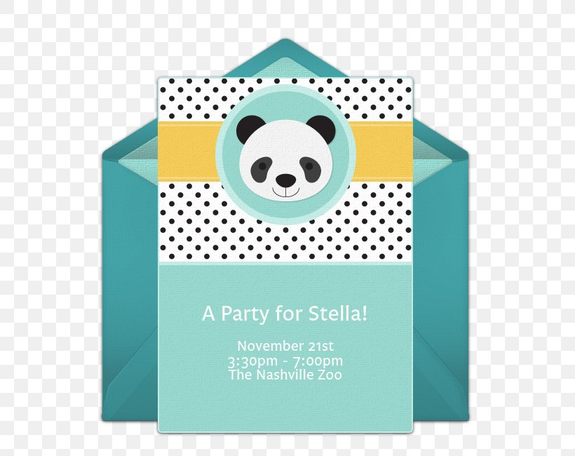 Wedding Invitation Paper Giant Panda Birthday Party, PNG, 650x650px, Wedding Invitation, Baby Shower, Birthday, Block Party, Blue Download Free